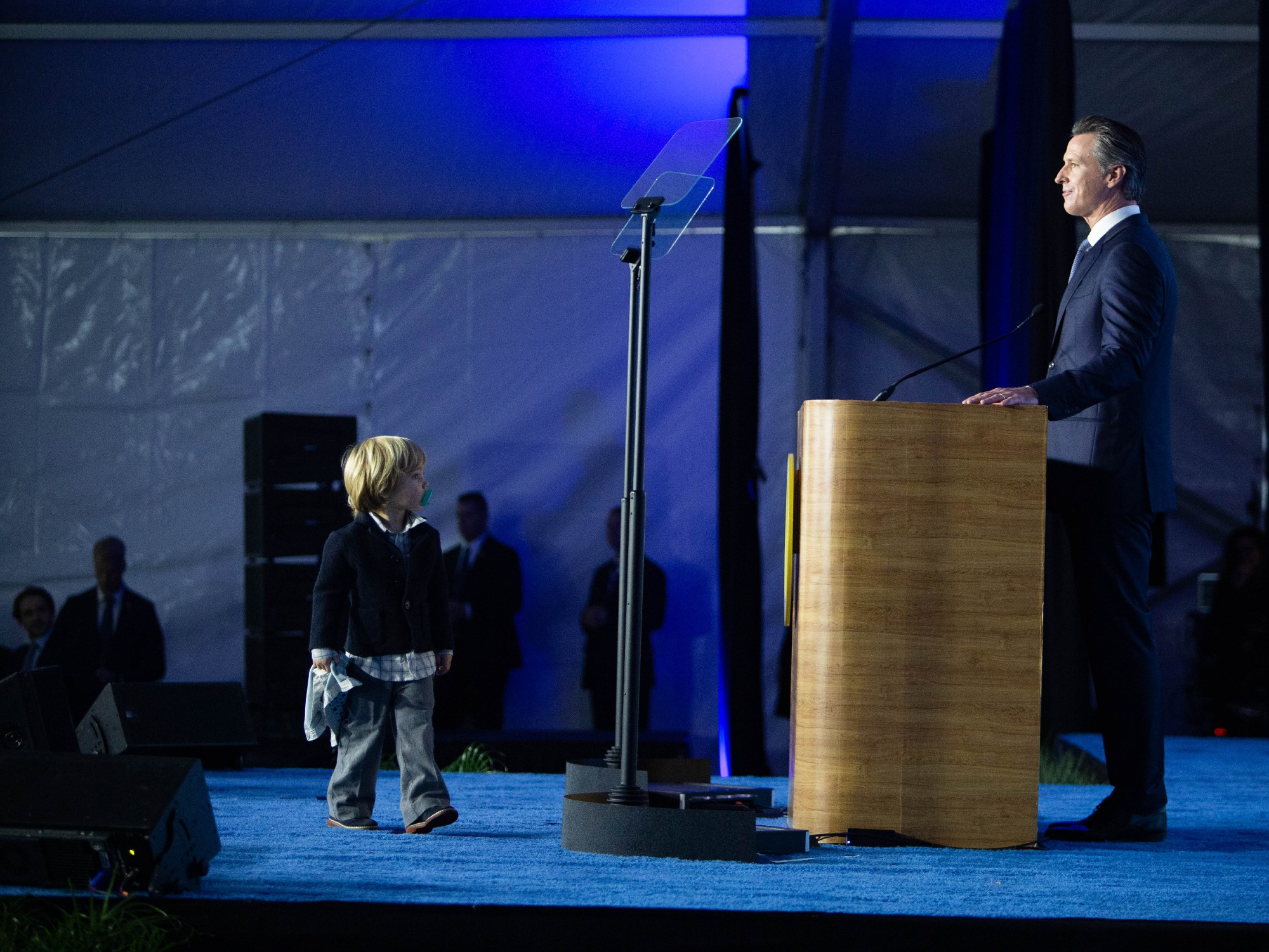 Live Blog: Newsom's 2-Year-Old Son Steals The Show At His