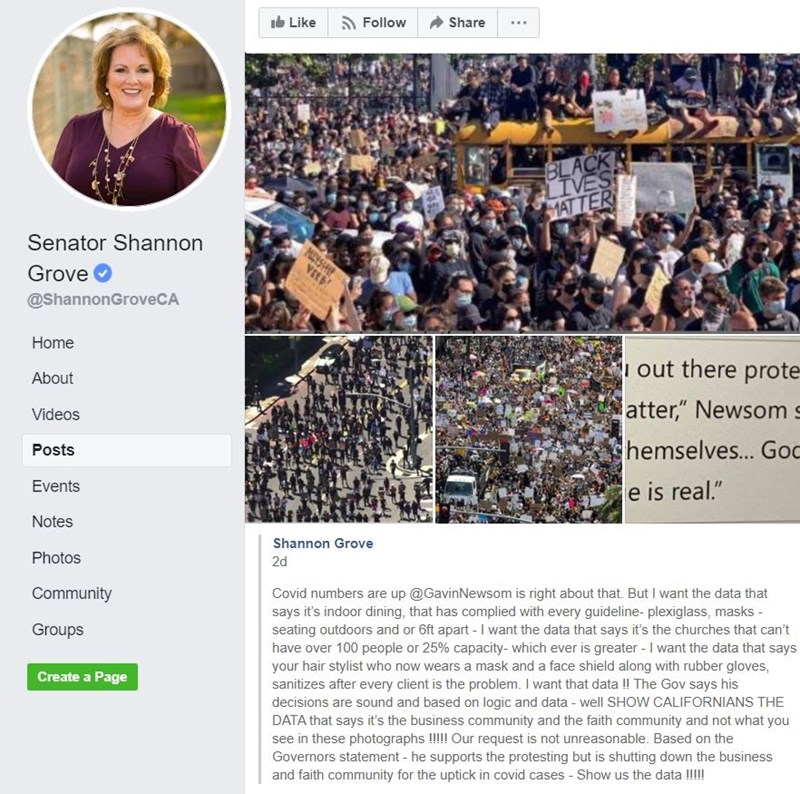 State Senator Shannon Grove, R-Bakersfield, published this Facebook post on July 14.