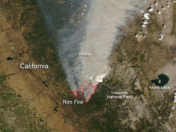 0825 NASA Rim Fire Smoke Satellite Photo