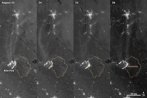 0827 Rim Fire Growth - Satellite Photos