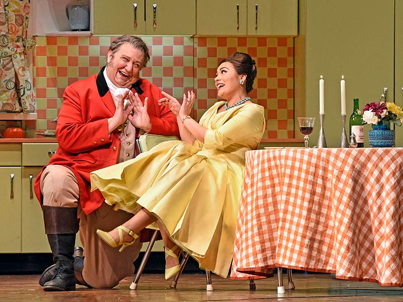 "Ailyn Pérez as Alice and Ambrogio Maestri in the title role of Verdi's ""Falstaff."" Photo: Karen Almond/Met Opera"