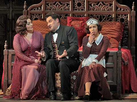 "Ailyn Pérez, Nadine Sierra, and ldar Abdrazakov in ""Le Nozze di Figaro."" 
