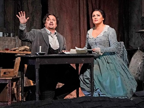 "Mathew Polenzani and Anna Netrebko in Puccini's ""La Bohème."" 